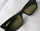 Vintage Sunglasses, 1950's Black Framed Sunglasses, Very Vintage Sun Eyewear Frames