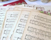 French Vintage Music Sheet Paper, Old French Sheet Music Bundle, Twenty French Music Sheets for Scrapbooking and Art Projects