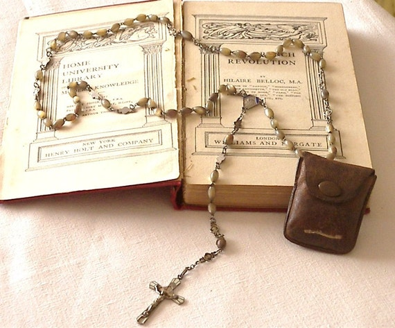 Vintage Antique French Rosary Beads and Original Leather Pouch, French Rosary, Vintage Mother of Pearl Rosary,