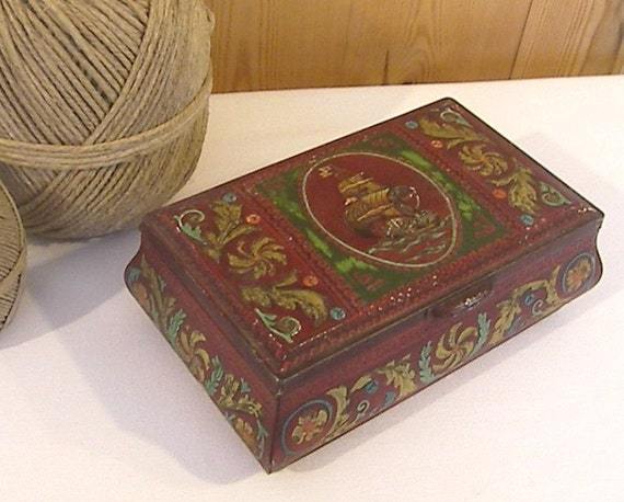 Vintage Embossed Tin, Coffret Hollandais Tin, Red and Gold Tin with Sailing Ship