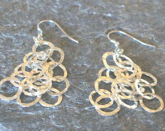 Sterling Silver Hammered Cut Out Circles Dangle Earrings