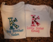 Sibling Big/Little Brother/Sister Shirt Set with Initial and Name
