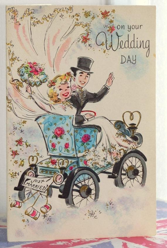 Vintage Greetings Card Just Married Wedding