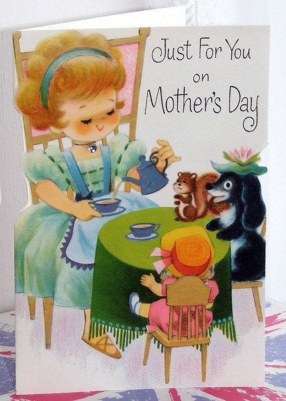 Adorable Vintage Greetings Card. Mother's Day. A Lovely Tea Party. Unused. Collectable. Scrapbooking...