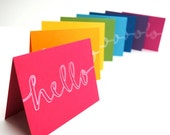 Hello Stationery, Rainbow Colors, Handwritten Calligraphy, Outline, Set of 8 Folded Cards, White Envelopes