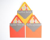 Nerdy Chic Stationery Set . Hand-lettered Calligraphy . White Ink on Grey Notecards . Argyle Lined Yellow and Orange Envelopes . Set of 6