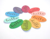 Handwritten Hello Stickers, Rainbow Colors, Envelope Seals, Modern Calligraphy, Hand Lettering, Stationery Supply, Set of 10, Ready to Ship