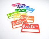 Rainbow Name Tags with Modern Calligraphy . Hello My Name Is . Rectangular Vinyl Stickers . Bright Colors . Set of 10