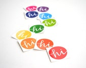 Round Stickers, Bright Rainbow Colors, Hi, Vinyl Envelope Seals, Modern Calligraphy, Stationery Supply, Set of 10