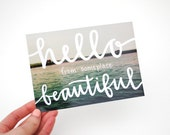 SALE // Travel Postcards, Hand-Lettered Calligraphy, Travel Photography, Hello from Someplace Beautiful, Set of 5, Ready to Ship