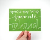 Father's Day Greeting Card . White Text on Green . Hand-Lettered Calligraphy Design . Blank Inside . Single