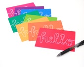 Rainbow Stationery, Hello, Handwritten Calligraphy, Outline Script, Red Orange Yellow Green Blue Purple Pink, Printed Cards, Set of 8