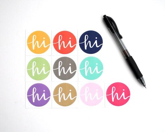 PREORDER Spring Stickers in Pantone Fashion Trend Colors . Hi . Modern Calligraphy . Round Vinyl Envelope Seals . Set of 10