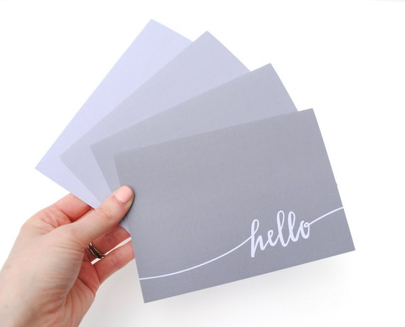 Simple Stationery Set, Shades of Grey, Handwritten Hello, Modern Calligraphy, Folded Cards, Set of 4