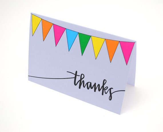 Thank You Cards, Colorful Bunting Illustration, Hand-Lettered Calligraphy, Light Grey, Blank Inside, Set of 4