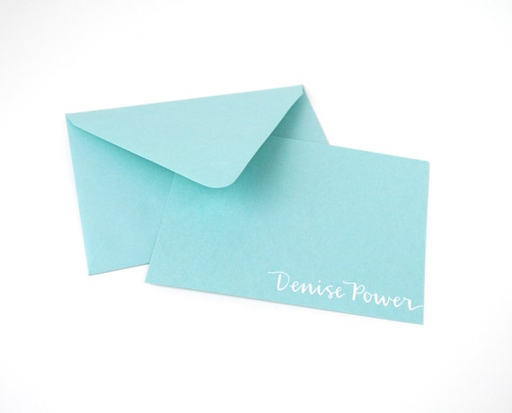 CUSTOM STATIONERY for Stephanie . White Ink on Aqua Blue with Matching Envelopes . Set of 10