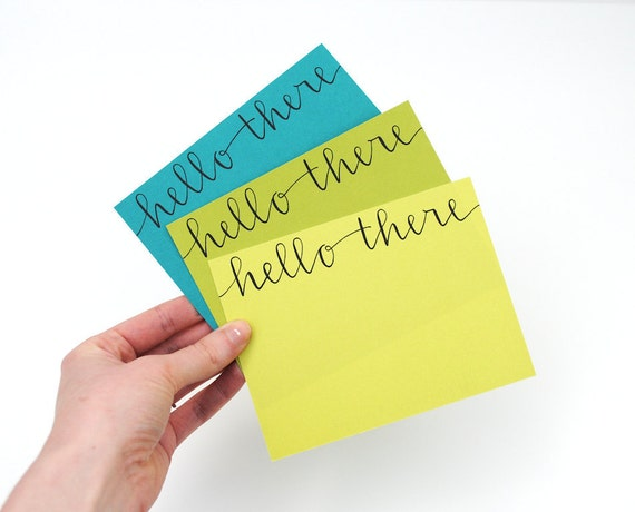 Modern Stationery Set in Shades of Green . Handwritten Calligraphy . Hello There. Set of 6 Flat Cards and Envelopes