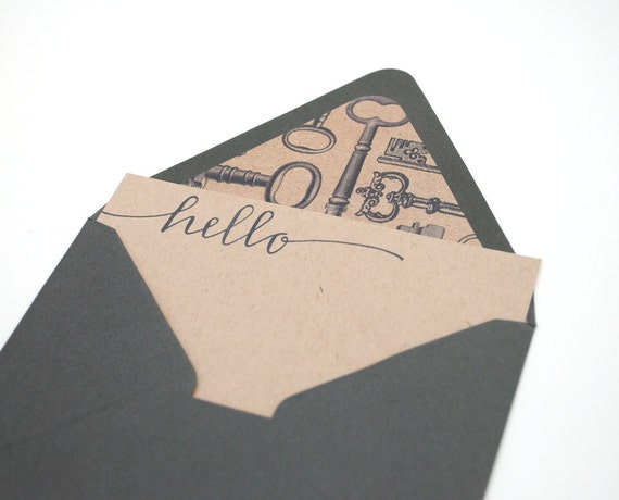 Antique Key Stationery Set . Modern Handwritten Calligraphy . Grey Ink on Brown Kraft with Dark Grey Lined Envelopes . Hello . Set of 3