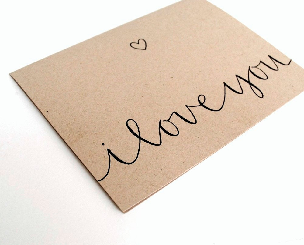 Romantic greeting card i love you modern calligraphy and