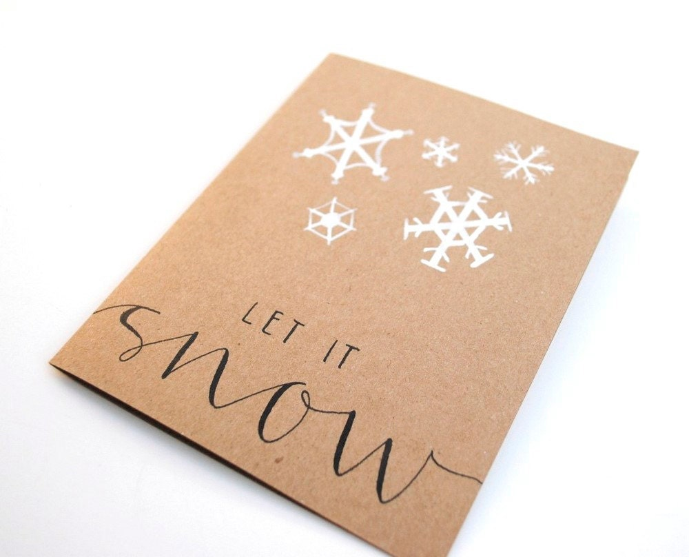 Let it snow handwritten greeting card winter holidays
