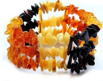 Baltic Amber Bracelet, Red Yellow Black Bracelet
