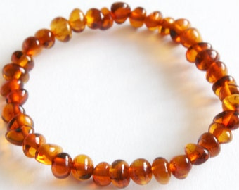 New Baltic Amber Baby Teething Anklet Baroc Form Cognac Beads on Rubber