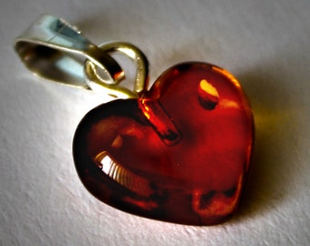 3 in 1 Baltic Amber 3 Pendants Heart Form Cognac Colored