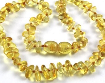 Baltic Amber Baby Teething Necklace Free Form Lemon Yellow Color Beads