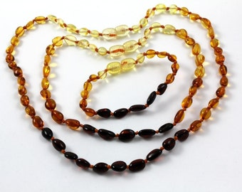Baltic Amber Baby Teething Necklaces Olive Form Beads SET of 3