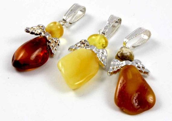 Baltic Amber Angel Pendants set of 3