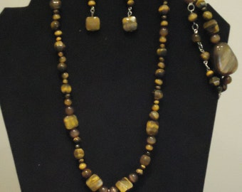 Natural Tiger's Eye Jewelry Set