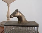 Vintage Horse Head Brass and Glass Tobacco Box