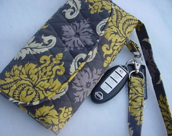 Quilted Wristlet Wallet Carry all in Aviary 2 Damask Granite