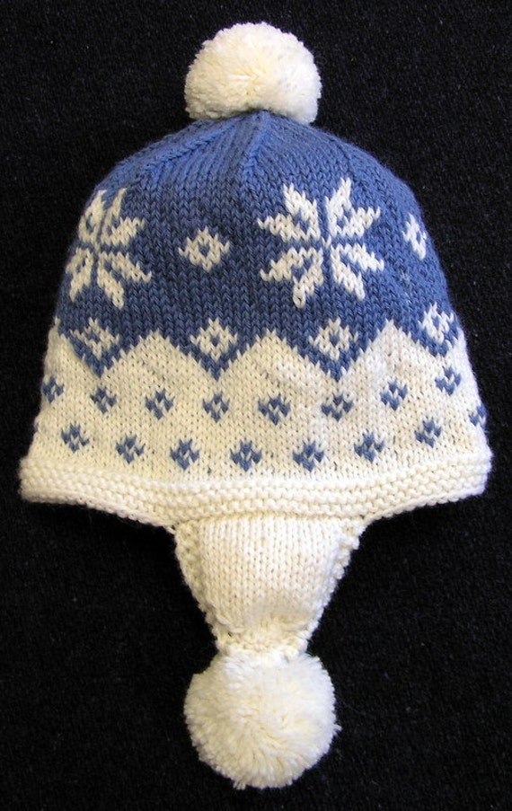 Knitted Snowflakes Pattern Free : Easy Knitting Pattern-Cascading Snowflake Earflap Hat PDF