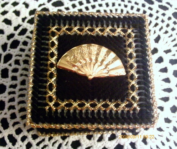 Gold and Black Victorian  Fan Trinket Box