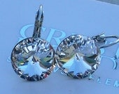 Swarovski Crystal 14mm Rivoli Clear Leverback Earrings