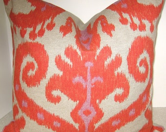 BOTH SIDES 18 x 18 Ikat throw pillow cover invisible zipper