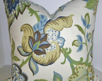 BOTH SIDES 20 X 20 Jacobean pillow cover - blue brown cream toss throw accent