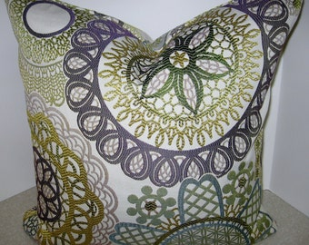 BOTH SIDES 20 x 20 Jacquard pillow cover citrine green violet gray taupe teal suzani circles geometric