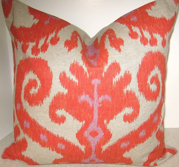 18 x 18 Ikat throw pillow cover invisible zipper