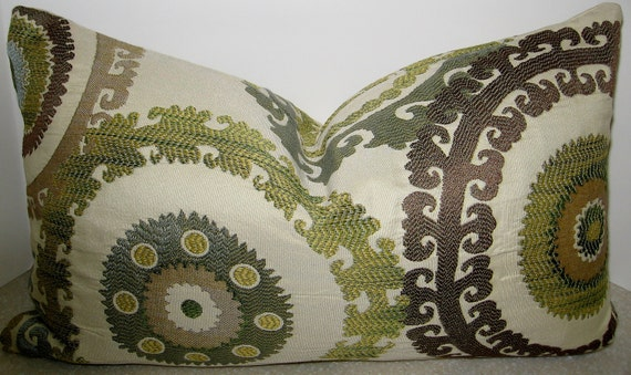 BOTH SIDES 20 x 12 lumbar pillow cover embroidered jacquard taraz spring blue citrine brown taupe