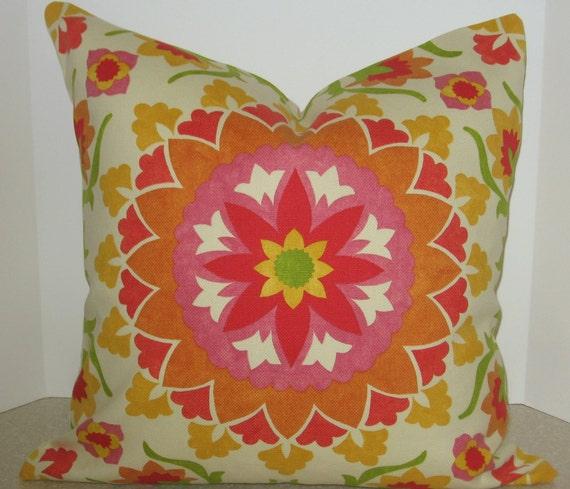 20 x 20 Suzani pillow cover spring pink orange yellow green cream