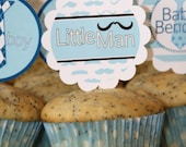 PDF  Personalized and Custom Little Man Baby Shower or Birthday Cupcake Toppers & Wrappers 2 sets- Printable DIY