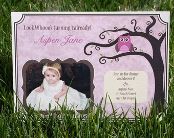 Girl Owl Birthday or Baby Shower Invites- Printable DIY PDF Only