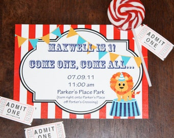 Circus Carnival Birthday Party Invite- Printable DIY PDF Only