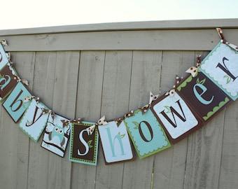Baby Boy Happy Birthday or Baby Shower Owl Banner- Printable DIY PDF only