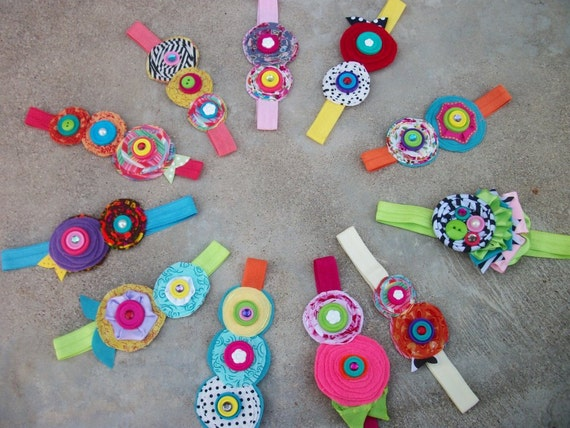 ready to ship-5 piece Upcycled flower headbands