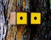 Danish Modern Birdhouse Duet in Walnut and Chartruese