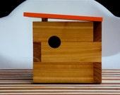 Mid Century Inspired Modern Cedar Birdhouse in Orange