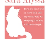 Custom kitten Baby Name - 8x10 Print Newborn Birthday - Custom Colors